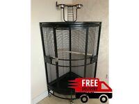 Parrot-Supplies Orlando Premium Play Top Corner Parrot Cage - Black