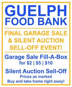 GUELPH FOOD BANK - 1 DAY ONLY - FINAL GARAGE SALE OF THE SEASON