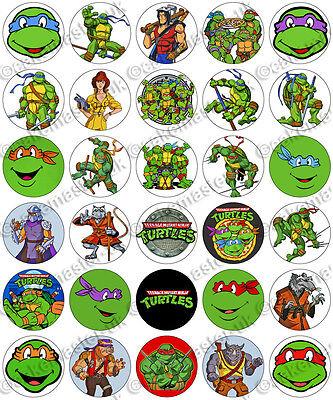 30 x Teenage Mutant Ninja Turtles TMNT Edible Rice Wafer Paper Cupcake Toppers](Edible Ninja Turtle Cupcake Toppers)