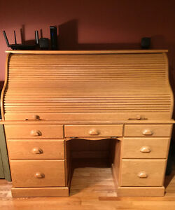 Desk - Solid Oak Roll top
