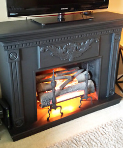 Artificial Wood FIREPLACE Mantle w/ Electric LOGS