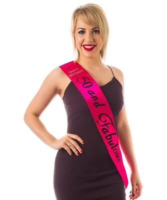 Pink Birthday Sash (HOT PINK 50th Diamante Happy Birthday Sash 50 and Fabulous in BLACK)