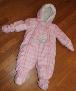 6-12 month Baby Girl One-Piece Pink Snowsuit