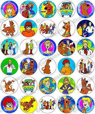 30 x Scooby Doo Party Collection Edible Rice Wafer Paper Cupcake Toppers ()