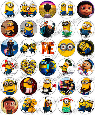 inions Party Edible Rice Wafer Paper Cupcake Toppers (Despicable Me Cupcake Toppers)