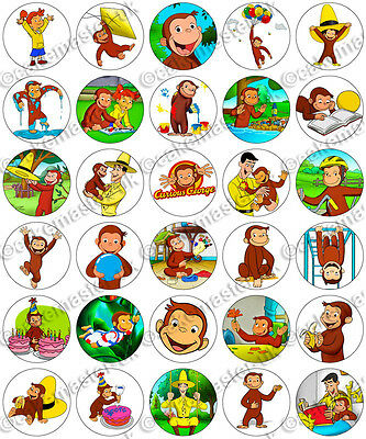 30 x Curious George Party Edible Rice Wafer Paper Cupcake Toppers (Curious George Cupcakes)