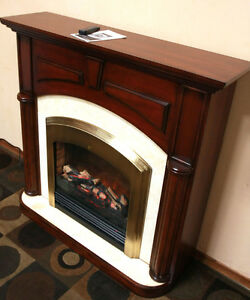 Superb Marble & Mohogany Electric FirePlace  Mantle SEE VIDEO