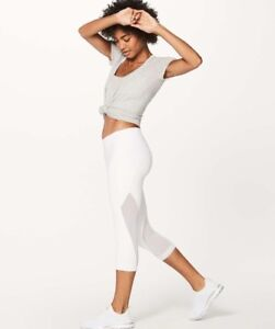 Lululemon Sweat Your Heart Out Crop Leggings- White