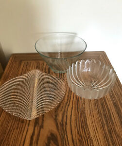 Glass serving bowls and dish
