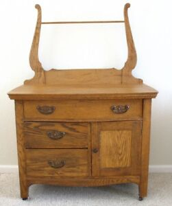 Genial Antique Oak Or Ash Wash Stand/Commode With Drawers, Cabinet U0026 Towel Rack