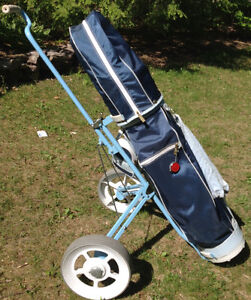 "Ladies RH Dynatour clubs, MacGregor 9"" bag, and Tourglide cart"