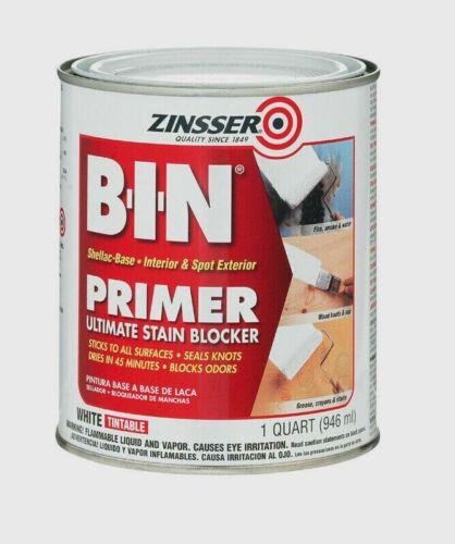 Zinsser B-I-N 1 qt. Primer & Sealer Shellac-Based White Stain Blocker 0904 NEW!!