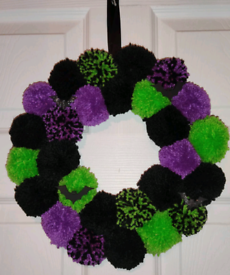 purple, black and green halloween wreath