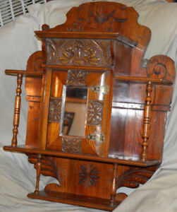 Arts and Crafts Carved Wall Hanging Cabinet All Original c.1910