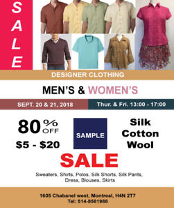 Sample Sale - Sept 20 & 21, 2018 13:00 - 17:00