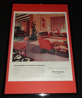 1955 Armstrong Floors Framed 11X17 Original Advertising Display