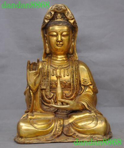 Old Tibet temple bronze gilt Kwan-Yin Guanyin Bodhisattva goddess buddha statue