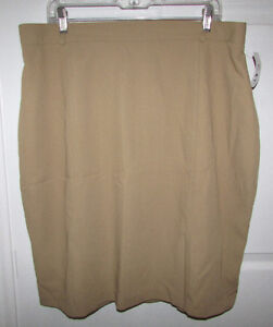 PLUS SIZE 20-22 Lined Pencil Skirt - Tan - NEW