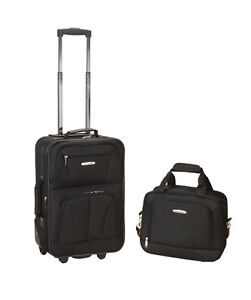 Rockland 2 Piece Carry on Luggage Set Black Cross