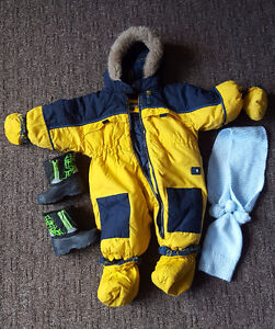 BUM EQUIPMENT SNOW SUIT (9M) WITH WINTER BOOTS, SCARF AND HAT