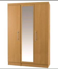 Wardrobe (3 door mirrored in beech.)