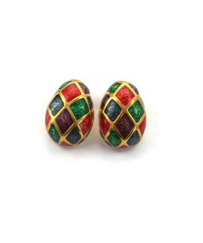 BEAUTIFUL LITTLE EGG SHAPED PIERCED EARRINGS W/ JEWEL TONE CLOISONNE