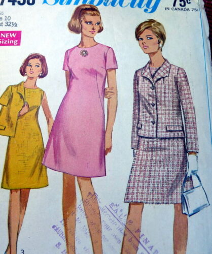 *LOVELY VTG 1960s DRESS & JACKET Sewing Pattern 10/32.5