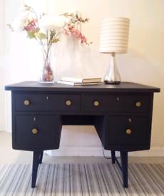 Small Handmade Vintage Oak Desk 1970s