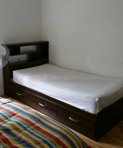 King Size bed mattress (200$), 2 Bed Frame (200$ each)