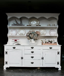 Vintage Farmhouse China Cabinet with Hutch