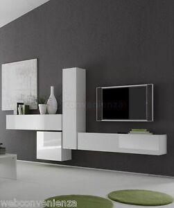 ... sospesa Box 6 Porta TV Mobile Soggiorno sospeso Bianco Lucido  eBay