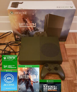 Limited Edition Green XBOX One S 1TB w 2 games,GOLD,EA Access