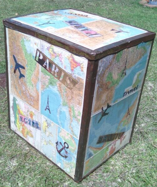travel theme decoupaged tea chest - table/pedistal - cool for shop display too & other unique stock