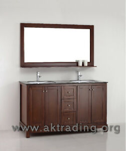 Double sink vanity is ideal for any larger setting or master bat