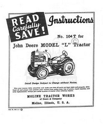 John Deere L Tractor Operators Instruction Manual Jd