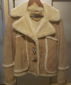 Women's Suede Leather jacket w/ faux shearling collar
