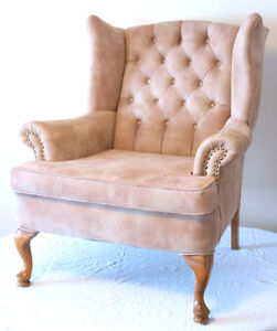 Excellent Ultra Suede Queen Anne Wingback & Ottoman SEE VIDEO