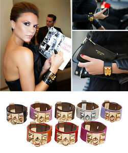New-Punk-Vintage-Metal-Studs-Faux-Leather-Loop-Charm-Bangles-Bracelet-Cuffs