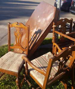 Real wood table and chairs really old maybe antique