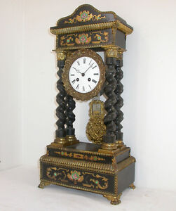 Beautiful 1800s French Portico Clock Horloge with Inlay
