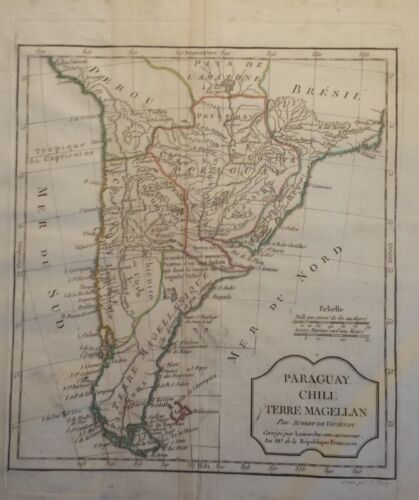1795 Vaugondy Map of Paraguay, Chili, Terre Magellan South America Hand Colored