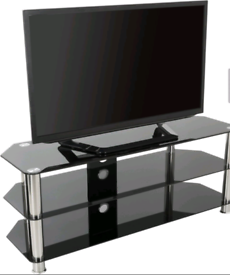 Glass TV stand black brand new boxed
