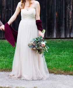 "Anthropologie Wedding Dress, Champagne ""Juliette"" with Lace Top"
