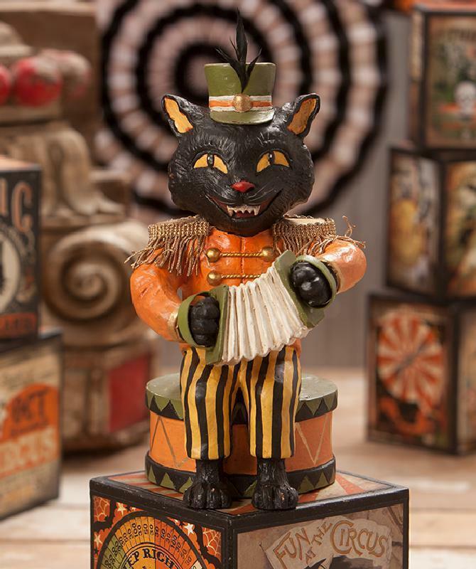 Bethany Lowe Figurine Halloween Black Cat Circus Musician Accordion NIB