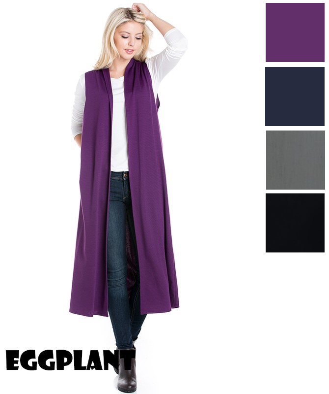 Womens Cardigan Duster Vest Kimono Long Solid Sleeveless Coa