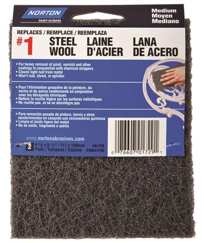 Norton 01729 Steel Wool Pad, 4-3/8 in L, 5-1/2 in W, #1 Grit, Medium, Charcoal