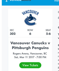 2 NHL Pittsburgh VS Vancouver Tickets