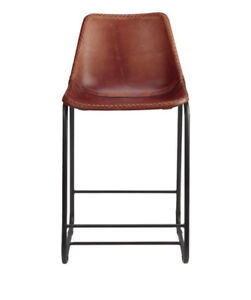 CB2 Counter Height Leather Stool