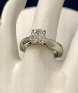 14k white gold 1ct diamond engagement ring/Certified at $13,750