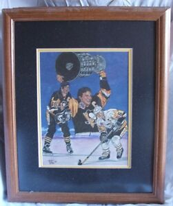 1990's Mario Lemieux Lithograph #/5000 Framed and Matted